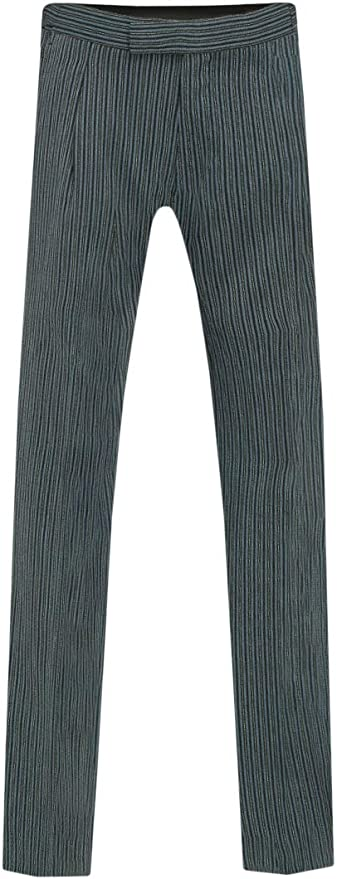 Edwardian Titanic Men's Formal Tuxedo Guide Dobell Mens Black and Grey Striped Morning Wedding Suit Trousers Regular Fit £50.00 AT vintagedancer.com