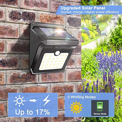 28 LEDs Lights Outdoor, Luposwiten Solar Motion Sensor Lights, Lumen Waterproof Solar Powered Lights for Steps Yard Garage Patio(4-Pack)