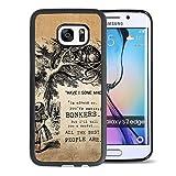 Alice in Wonderland Samsung Galaxy S7 Edge Case, Onelee [Never fade] Disney Alice in Wonderland We're all mad here Cheshire Cat Samsung Galaxy S7 Edge Black TPU and PC Case [Scratch proof]