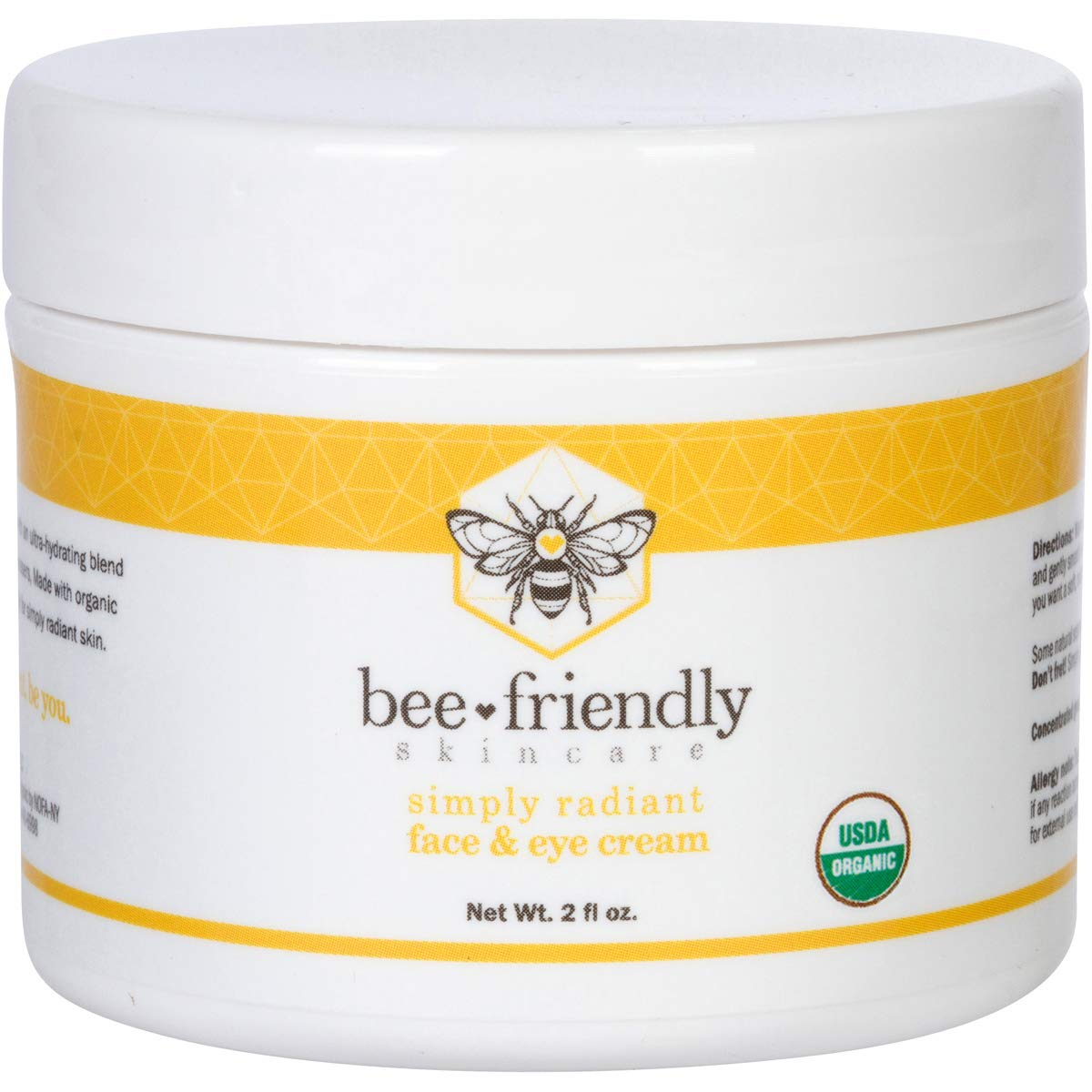 BeeFriendly Face and Eye Cream All Natural USDA Certified Organic Moisturizer, All In One Face, Eye, Neck, Decollete Cream, 2 oz by BeeFriendly
