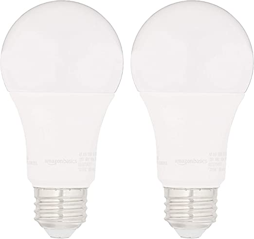AmazonBasics 100W Equivalent, Daylight, Dimmable, 10, 000 Hour Lifetime, A19 LED Light Bulb | 2-Pack - - Amazon.com
