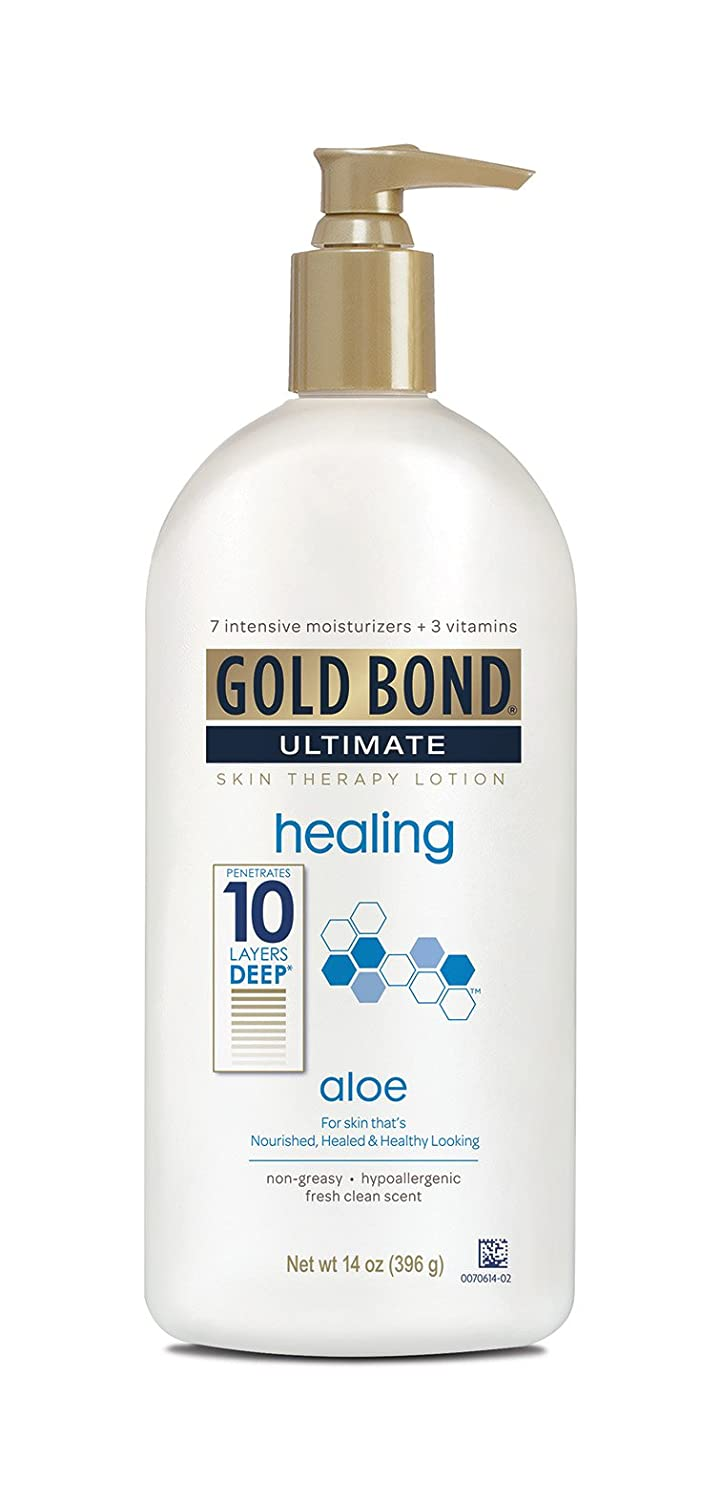 Gold Bond Ultimate Healing Skin Therapy Lotion for Dry Skin Aloe, 14 Ounce Body Lotion for Rough, Dry Skin with Aloe