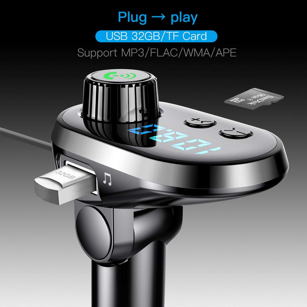 1 USB 5V//2.1A and TF Card Connection MANLI Car Charger MP3 Player Handsfree with 3 Ports for iPhone Bluetooth 5.0 Android and Type C Bluetooth FM Transmitter Car Adapter