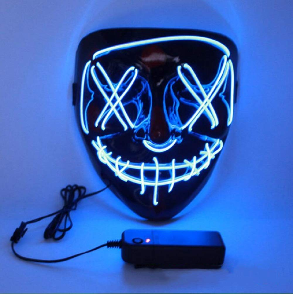 LED Halloween Mask,Scary mask with LED Light,Cosplay Glowing mask for Halloween Festival Party (Blue)