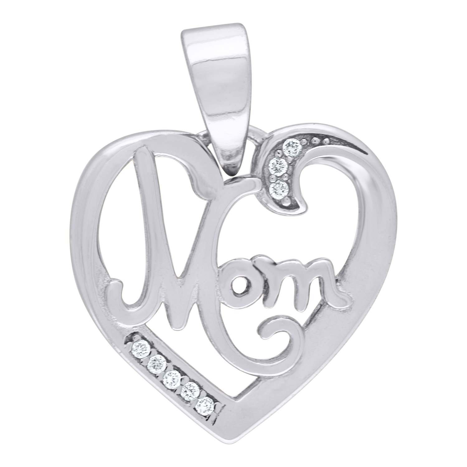 Jawa Jewelers 925 Sterling Silver CZ Mom Heart 2.22gm Womans Charm Pendant