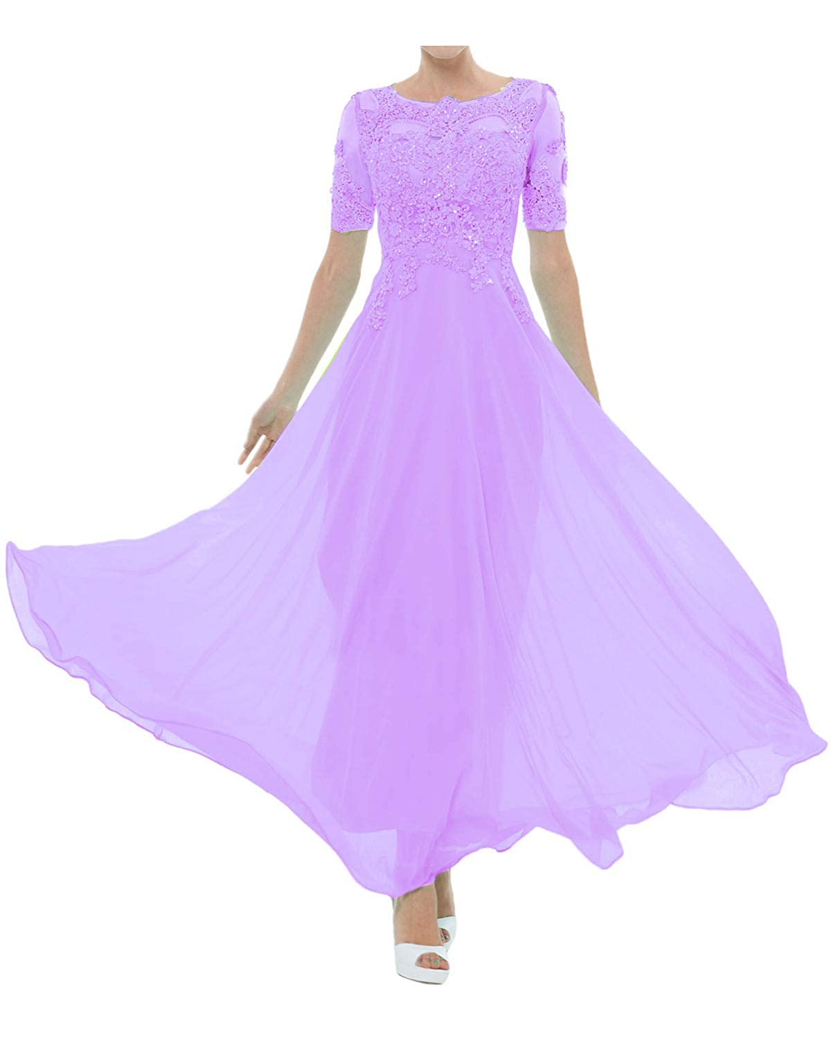 DINGZAN Ankle Length Chiffon Applique Mother of The Bride Dress with Short Sleeves