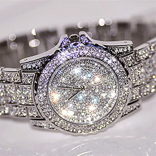 (Gotd New Women Watches Rhinestone Ceramic Crystal Quartz Watches Lady Dress Watch Birthday Gifts (Silver))