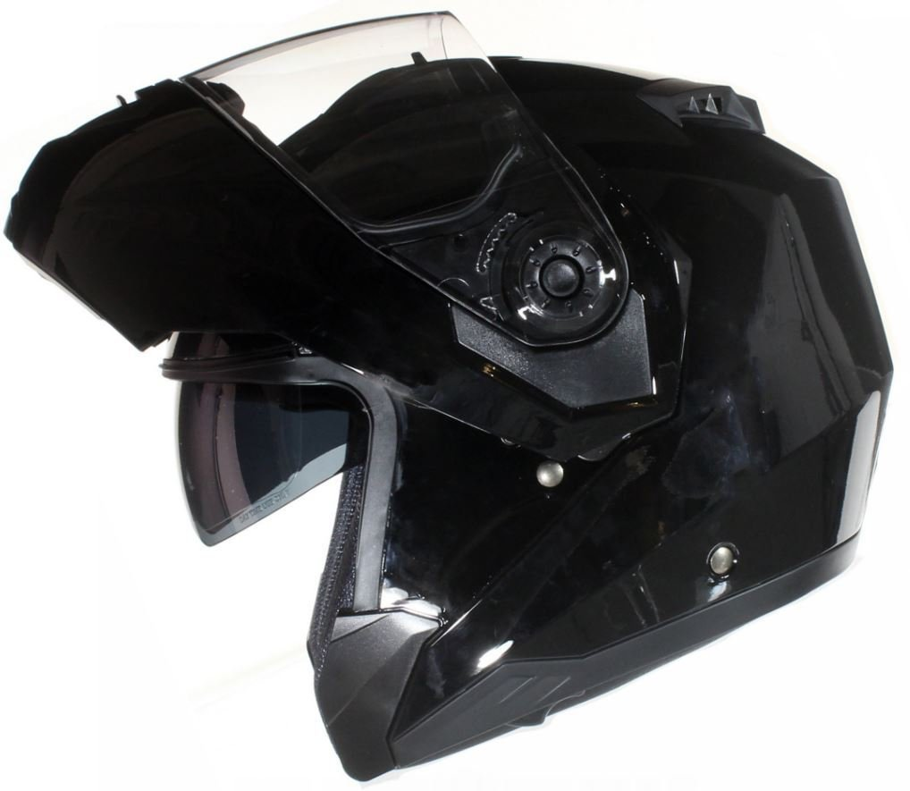 Qtech MODULAR Flip-Up Motorcycle Helmet with Double Visor Matt SILVER Small 55-56cm