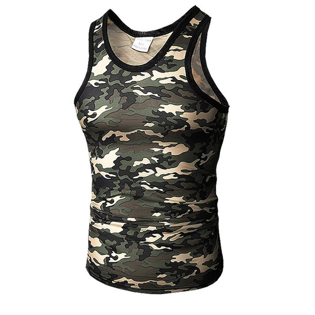 XQXCL Camouflage Vest for Men Summer Casual Slim Sport Sleeveless Round Neck Top