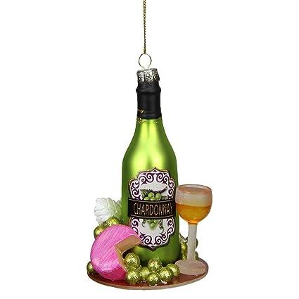 Northlight Tuscan Botella de Vino de Cristal con Purpurina Verde Chardonnay, Adorno de Navidad,