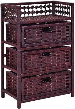 Soggiorno corridoio SH-SYS1002-BW Bagno 36 x 37 x 76 cm SogesHome Armadio cassetti con 3 cestini Intrecciati in Vimini per Camera da Letto Marrone