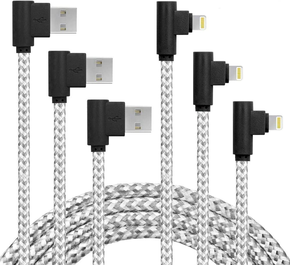 90 Degree Right Angle iPhone Charger Cable MFI Certified Lightning Cable 3Pack 10ft Certified Nylon Braided USB Cord iPhone 12/11/Pro/Max/X/XS/XR/XS/8/7/Plus/6/6S/SE-BlackWhite