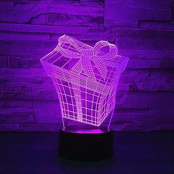 LANGNY Preciosa caja 3D, base negra: toque colorido. LED Luz de ...