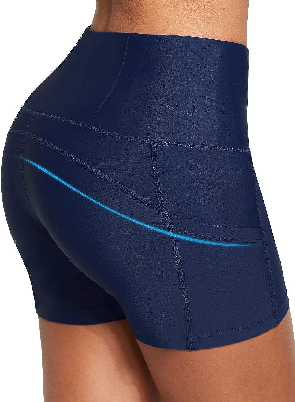 BALEAF Womens High Waist 3 Inches Compression Spandex Workout Running Yoga Volleyball Shorts Back Zipper Pocket Navy S