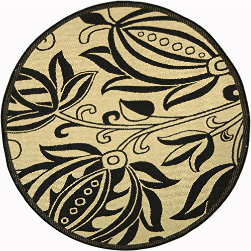 Safavieh Courtyard Collection CY2961-3901 Sand and Black Indoor/ Outdoor Round Area Rug (6'7