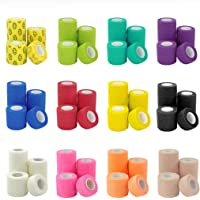 Zelro Vet Wrap Tape Bulk, 12 Color Pack 5-Yards Dog Cat Pet Horse Self Adhesive Flex Bandage Rap Grip Roll for First Aid, Sports, Wrist, Ankle (1, 2, 3 or 4 Inch)