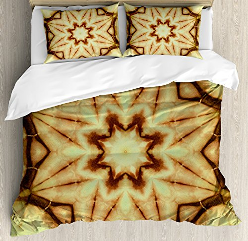 Tie Dye Decor Duvet Cover Set by Ambesonne, Trippy Ethnic Thai Mandala Motif with Dirty Grunge Smear and Rough Stains, 3 Piece Bedding Set with Pillow Shams, Queen / Full, Mustard Brown by Ambesonne