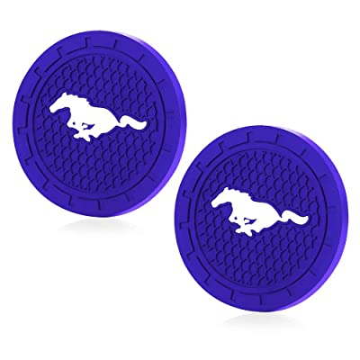 Shenwinfy 2.75 Inch Car Interior Accessories Anti Slip Mat for Mustang, Cup Holder Coaster Auto Interior Decoration Pad (Blue, 2 PCS): Automotive