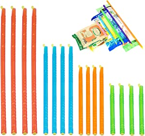 16PCS Magic Bag Sealer Sticks Closure Stick, Chip Clips Plastic Bag Sealer Stick, Stay Fresh Bag Sealer Stick Magic Kitchen Food Storage Clips with 4 colors and sizes, Eco-friendly Keep Plastic Bags Airtight Watertight & Food Fresh