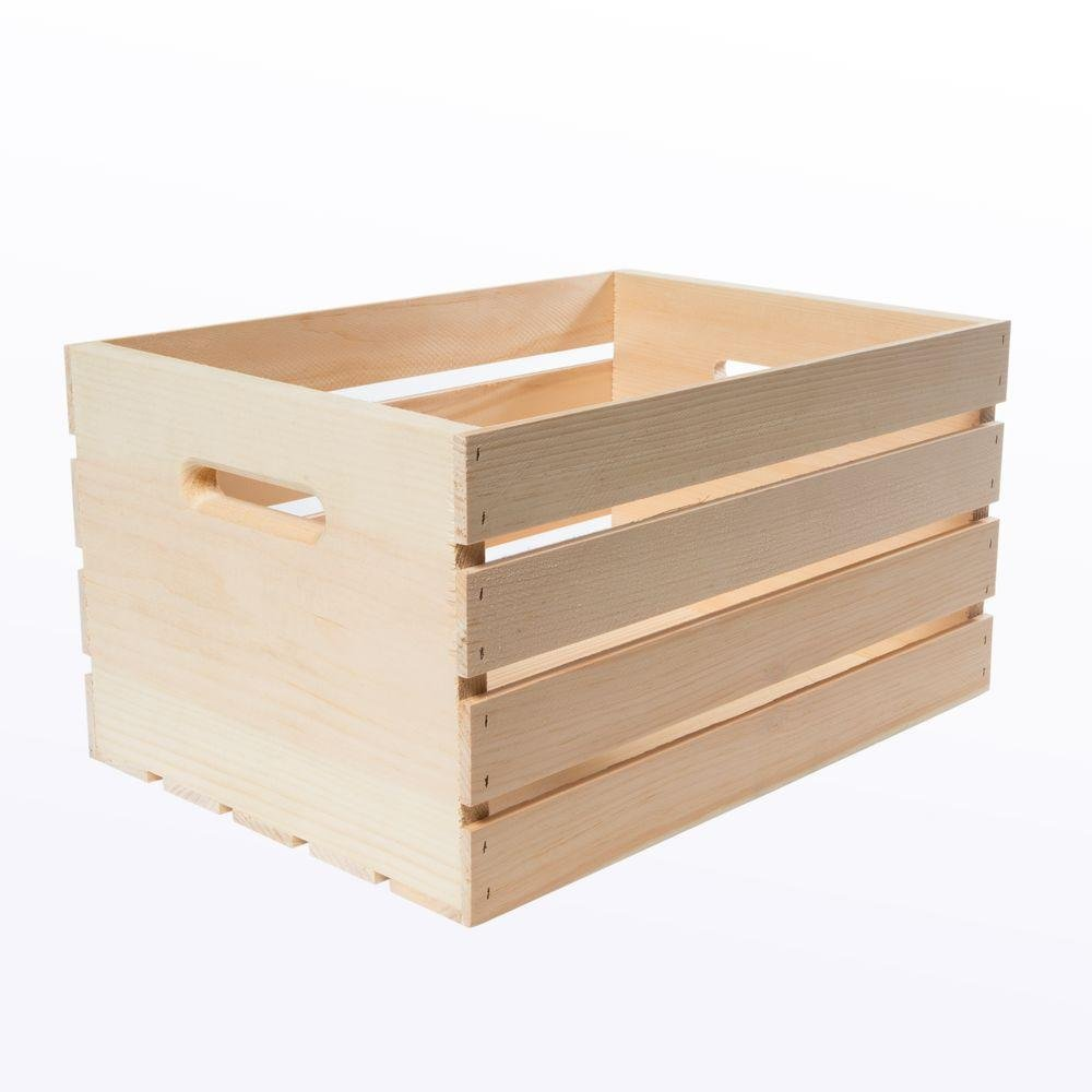 Crates and Pallet Large Unfinished Wood Crate, 18 in. x 12.5 in. x 9.5 in.