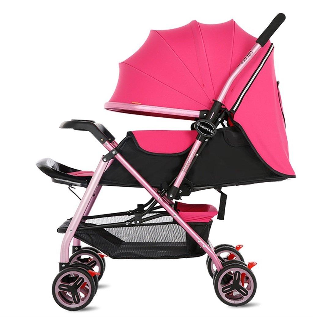 新生児の赤ちゃんキャリッジ折り畳み可能な座って、1ヶ月-5歳の赤ちゃんの2ウェイ8ホイールのためのダンピングベビーカートを横に振ることを避ける赤ちゃんトロリー目覚めを避ける (色 : ピンク ぴんく) B07DV8W2ZG ピンク ぴんく ピンク ぴんく