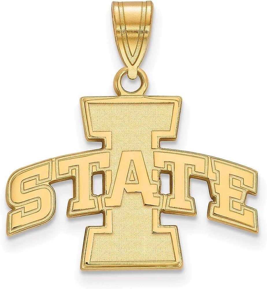 Yellow Sterling Silver Charm Pendant Iowa NCAA State University 22 mm 21