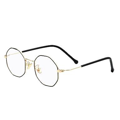 22a0439d63 eyeooqz Modern Geometric Metal Alloy Optical Frames Clear Lens Hexagonal  Rx-able Eyewear (Geometric