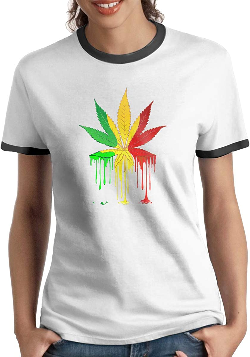 Queen Elena - Camiseta de Manga Corta con Estampado de Hojas de Marihuana y Rasta, Color contrastante, para Parejas