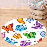 VROSELV Custom carpetButterflies Decoration Collection Of Colorful Butterfly Print Cute Ornate Winged Animal Love Graphic Print Bedroom Living Room Dorm Decor Multi Round 79 inches