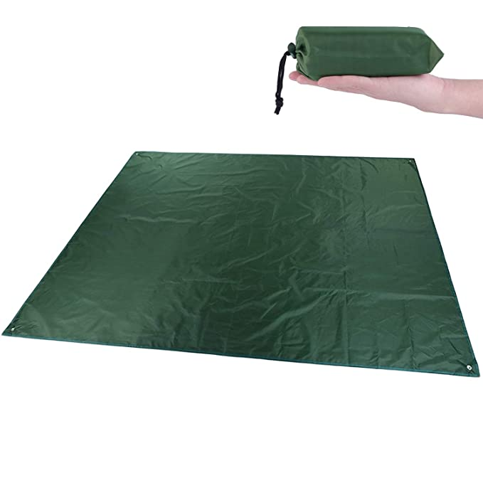 YINXN Camping Tarp, Waterproof Picnic Mat, Multifunction Tent Footprint with Drawstring Carrying Bag Ultralight Hammock Sunshade for Picnic, Hiking, Parks and Beach