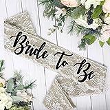 Burlap Bachelorette Sash - Burlap & White Lace Overlay