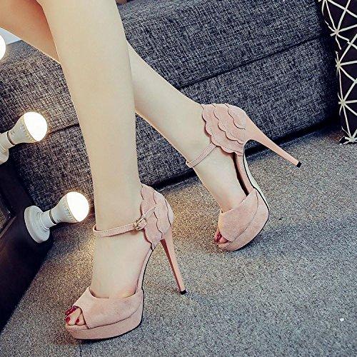 ZHUDJ Todo Coincide Con Encajes Zapatos Verano Hembra 12Cm Bien Con La Boca De Pescado Palabra Impermeable Hebilla Sandalias Calzados Femeninos De Taiwán Pink 5688 one 1