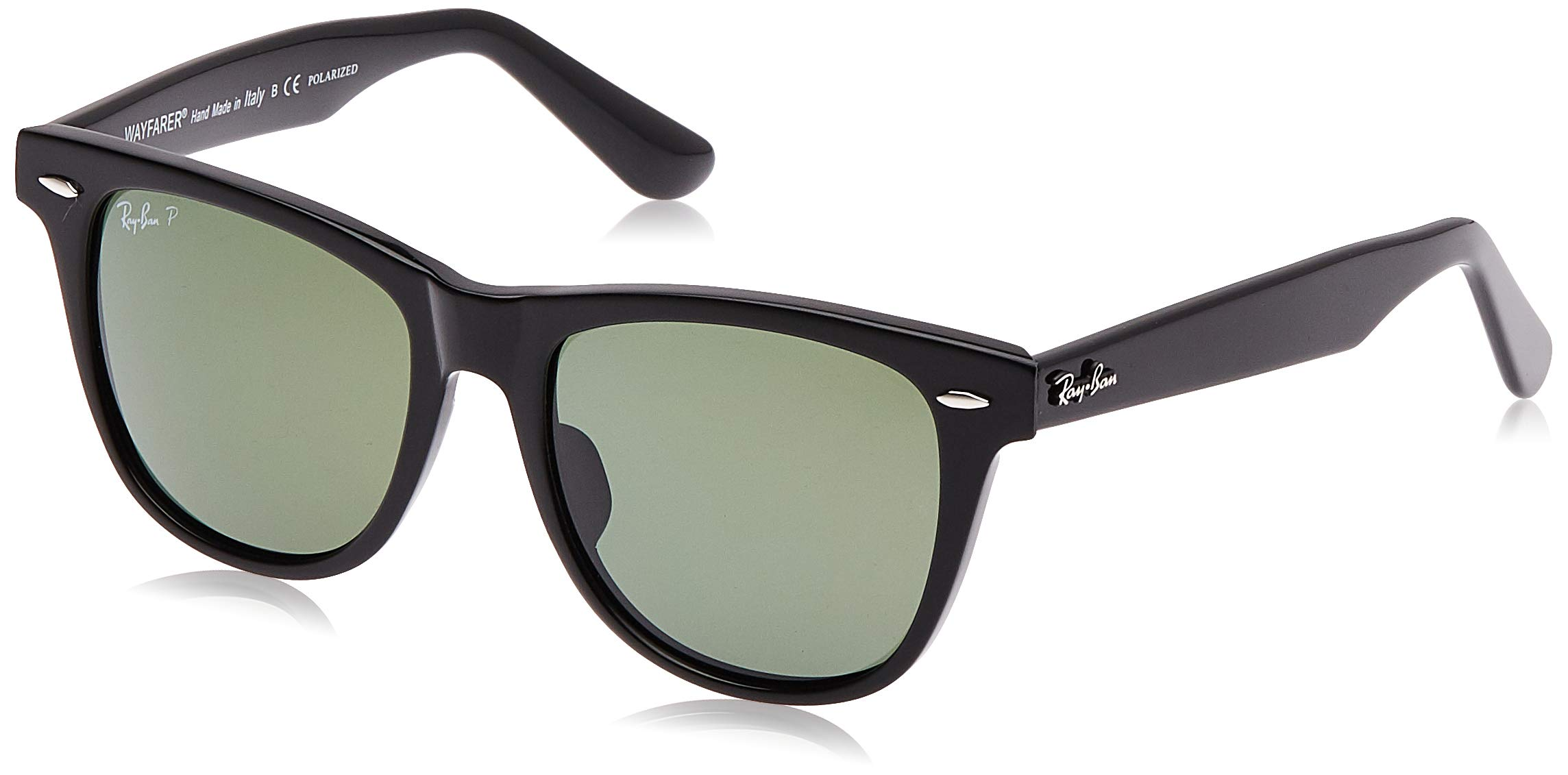 Ray-Ban RB2140 Wayfarer Sunglasses, Black/Polarized Green 1, 50 mm by RAY-BAN