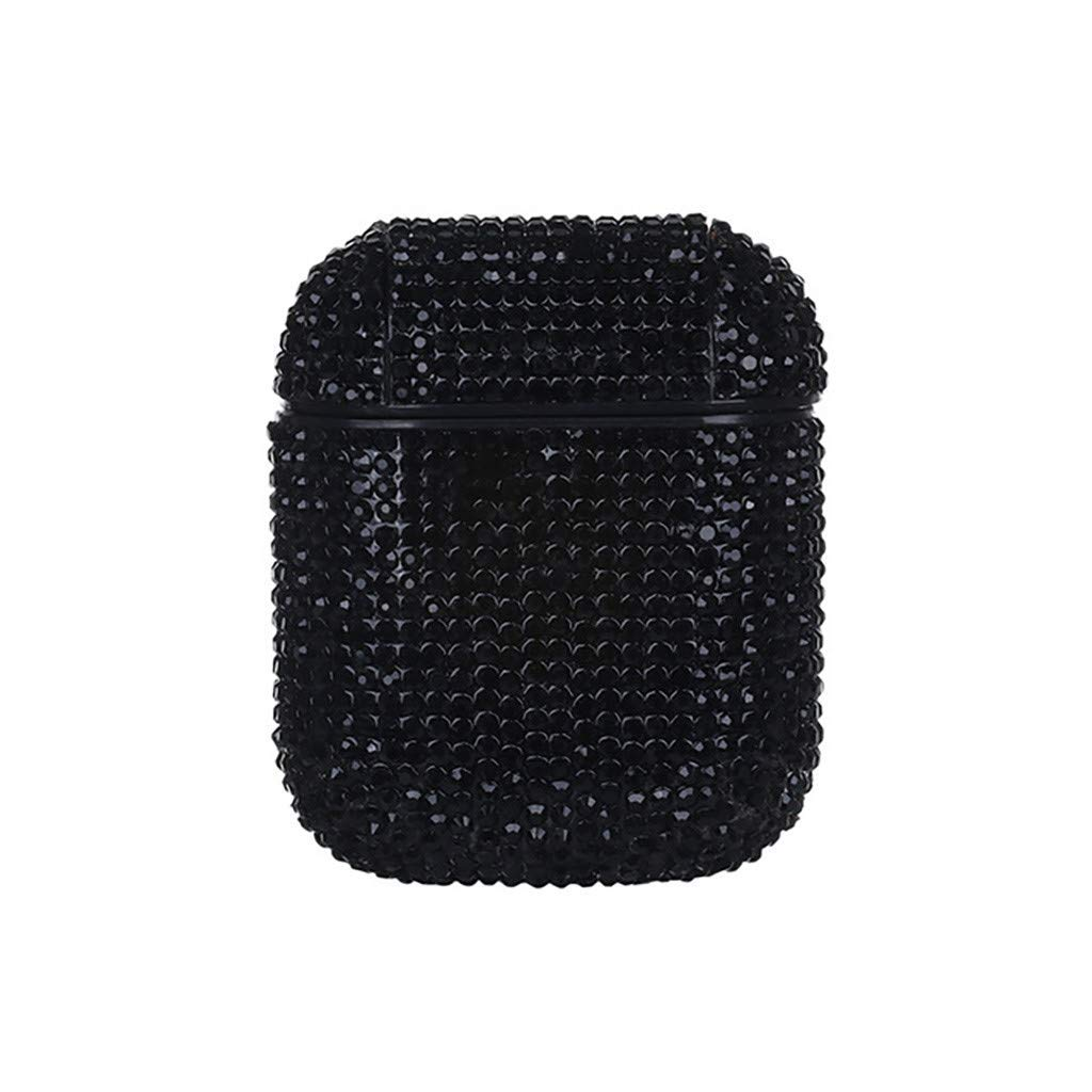Tech Ex 3D Rhinestone Crystal Bling Cover Luxury Protective Skin for Apple Airpods 1 or 2 Charging Case Portable Diamond Fashion Accessories (Black)