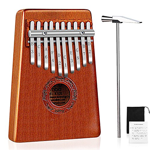 Mugig Kalimba Mbira Thumb Piano Pocket Size for Beginners and Children with Engraved Notation, Cloth Bag, Hammer and Music Book (Kalimba 10 keys)