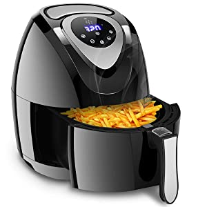 Costzon 7-In-1 Air Fryer, 3.4 Quart 1400W, Healthy Oil Free Cooking, Electric Deep Cooker with LCD Touch, Temperature and Time Control, Dishwasher Safe, Detachable Basket Handle, UL Certified