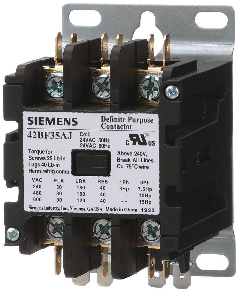 siemens 42bf35ag definite purpose contactor, 3-pole, 30 amp, 208-240v ac  coil voltage: amazon.com: industrial & scientific  amazon.com
