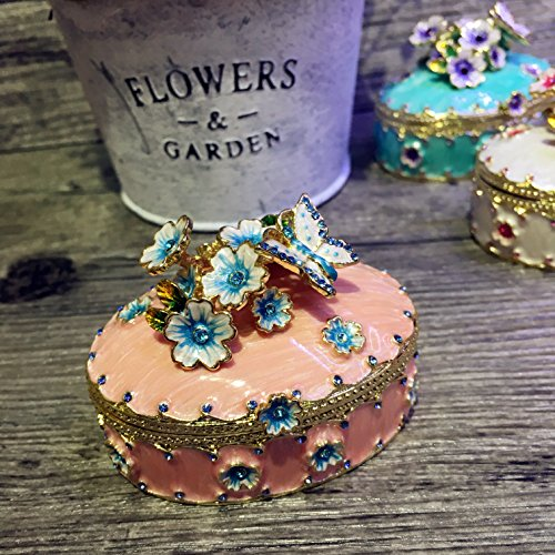znewlook Enameled Flowers and Butterfly on Lid Trinket Box Hinged Keepsake Box in Oval Shape Crystal Gifts ()