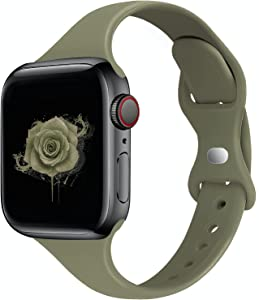 STG Sport Band Compatible with Apple Watch 38mm 40mm 42mm 44mm, Soft Silicone Slim Thin Narrow Replacement Strap Compatible for iWatch SE Series 6/5/4/3/2/1 (Khaki, 38/40mm)