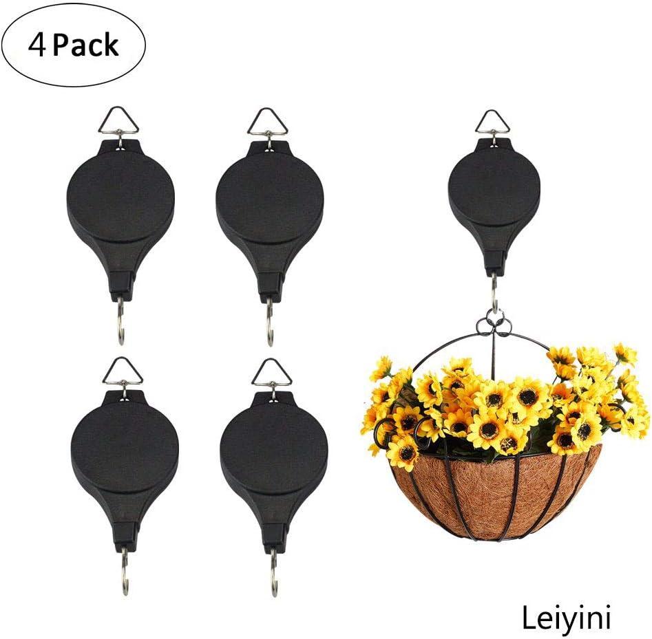 1 Pair Retractable Pulley Hanging Flower Basket Hook Pull Down Hanger
