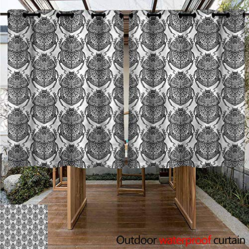 (Sunnyhome Grommet Outdoor Curtains Egyptian Mythological Scarabs for Patio/Front Porch W 55