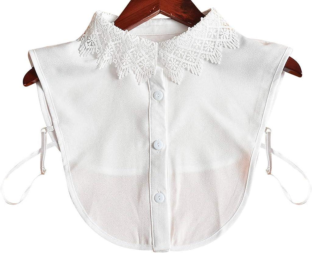 BASSK - Camisa para mujer, suéter de forro polar, cuello desmontable y encaje floral 2 1: Amazon.es: Ropa y accesorios