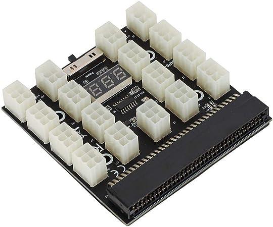 Kafuty PCI-E 17x 6-polige Adapterplatine 12-V-Miner-Grafikkarte Netzteiladapter Konvertermodul mit LED-Anzeige