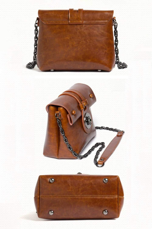 4 Colors Available Color : Brown Jian E Shoulder Bag Retro Fashion Faux Leather Chain Bag Solid Color Casual Versatile Shoulder Diagonal Female Envelope Bag PU