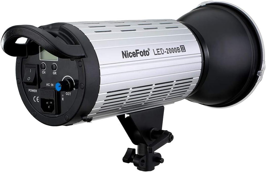 CRI96 TLCI96 NiceFoto 200W 3200-6500K Bi-Color COB LED Video Light LED-2000A II Bowens Mount