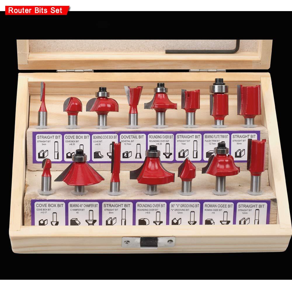 1//4 Shank Carburo Di Tungsteno Fresa Kit Tools Con Custodia In Legno 15Pcs Set Di Router Include Traight, Cove E Smusso Bit