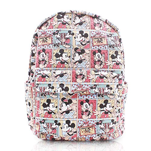 FINEX Mickey Mouse & Minnie Mouse Comic Style Canvas Classic Cartoon Casual Backpack with 15 inch Laptop Storage Compartment for College Sport Bag