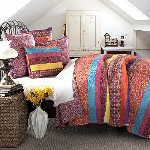 Lush Decor 5 Piece Boho Stripe Quilt Set, Full/Queen, Fuchsia - 5 Piece Queen Bed