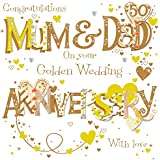 Mum & Dad Golden 50th Wedding Anniversary Greeting Card By Talking Pictures Cards