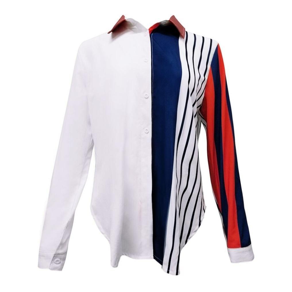 Blusas Blancas de Mujer Manga Corta, Las Mujeres Ocasionales de Manga Larga Color Block Stripe Button T-Shirts Blusas Tops: Amazon.es: Ropa y accesorios